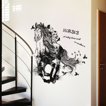 Running Horse Wall Sticker Decal Living Room Background Home Decor