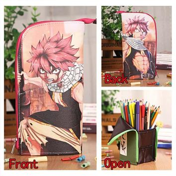 Anime Fairy Tail Natsu Waterproof PU Leather Stationery Pouch/Brush Pot/Pen Holder/Pencil Case Bag/Office School Supplies