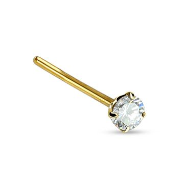 BodyJ4You Nose Fish Tail Ring 14Kt. Solid Yellow Gold Round 2mm Prong CZ 20G Jewelry