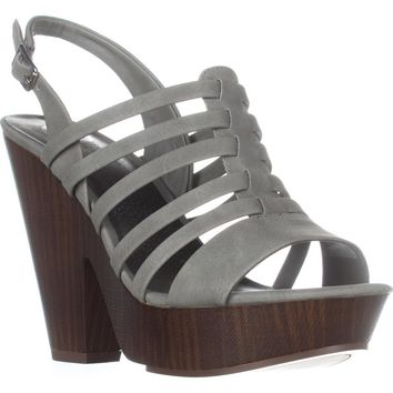 G by GUESS Seany2 Platform Gladiator Sandals, Dark Grey, 7 US