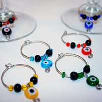 Handmade Evil Eye Wine Glass Charms , Multicolor Drink Markers , Circle Geometric Wine Charms Set of 6