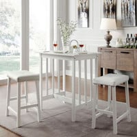 Modern Dining Room Furniture White 3-Piece Counter Height Kitchen Table Set New