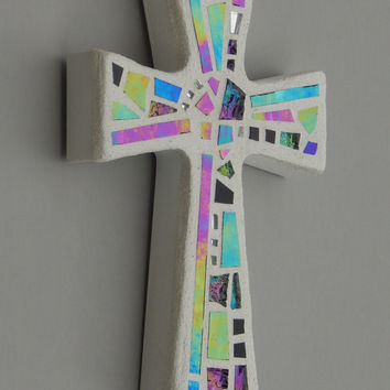 "Mosaic Wall Cross, Small, White with Iridescent+Textured Glass+Silver Mirror,  Handmade Stained Glass Mosaic Cross Wall Decor, 6"" x 4"""