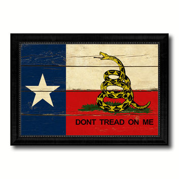 Gadsden Don't Tread On Me Texas State Military Flag Vintage Canvas Print with Black Picture Frame Home Decor Wall Art Decoration Gift Ideas