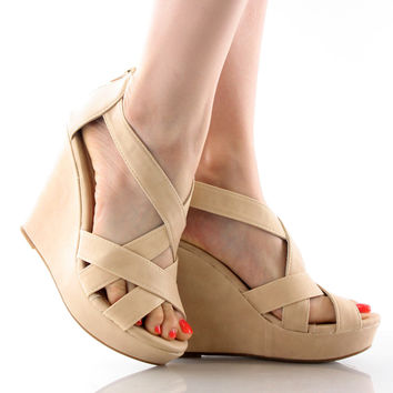 Ella-18 Criss Cross Strappy Platform Wedge Sandals