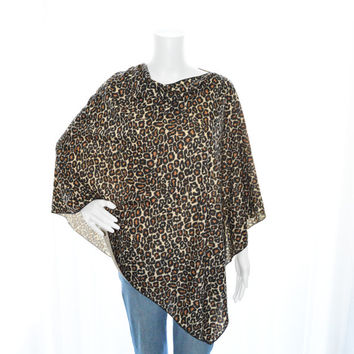 Leopard Animal Print Poncho/ Nursing Cover / Breastfeeding Top / Lightweight Shawl/ Off the Shoulder Top / New Mom Gift