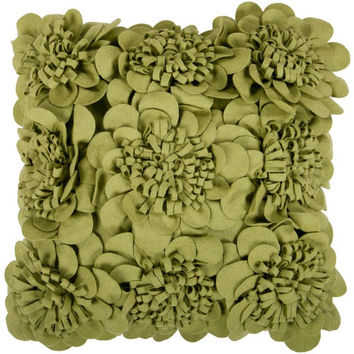 Abigail Green Felt Flower Pillow