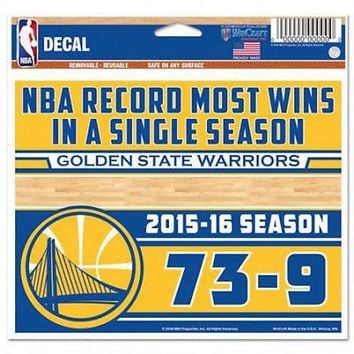 Golden State Warriors 2016 NBA Most Wins Record 73-9 Multi-Use Decal