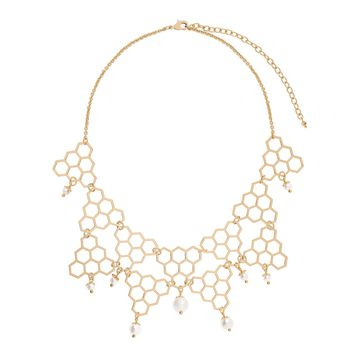 Honeycomb shaped statement necklace with delicate cream color pearls in 18 karat gold plating 16.5 in + 4 in ext