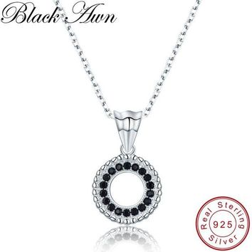 ac spbest [BLACK AWN] Trendy 3.5g 925 Sterling Silver Fine Jewelry Black Spinel Round Slide Pendants Necklace for Women P193