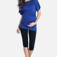 Women's Lilac Clothing 'Taylor' Ruched Boatneck Maternity Top