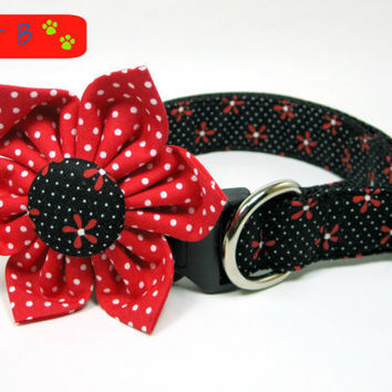 Black / Red Daisy Flower  Dog Collars with Flower set  (Mini,X-Small,Small,Medium ,Large or X-Large Size)- Adjustable