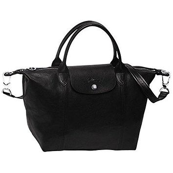 "HANDBAG le pliage leather , cuir ( black ) by longchamp paris "" LE PLIAGE "" 100% authentic original from PARIS FRANCE"