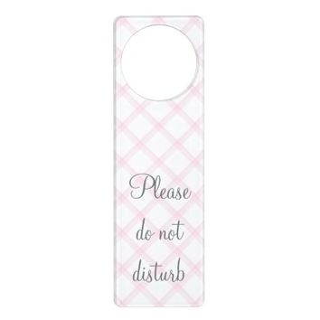 White and Pink Tartan Door Hanger