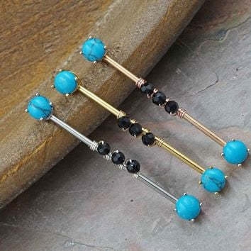 Turquoise Silver, Gold or Rose Gold Industrial Barbell