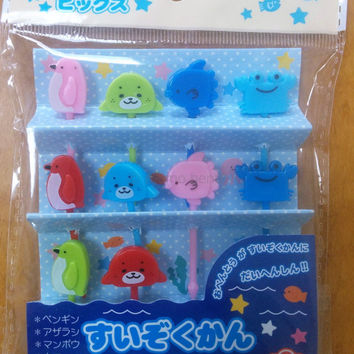 Cute Sea Creatures Cupcake Topper & Food Decoration Bento Picks - Penguin, Crab, Seal, Sunfish