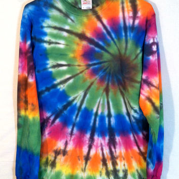 Tie Dye Shirt - Long Sleeve Shirt - Stained Glass Spiral - 100% Cotton - Men's or Women's Shirt