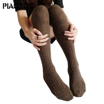 Free New Spring Winter Cotton Knitted Stockings Wool Braid Over Knee Socks Thigh Highs Hose Stockings P25