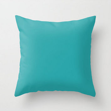 Teal Pillow Cover Circus Blue Solid Color Pillow Case 16x16 18x18 20x20 Square Nursery Baby Child's Apartment Home Room Decor