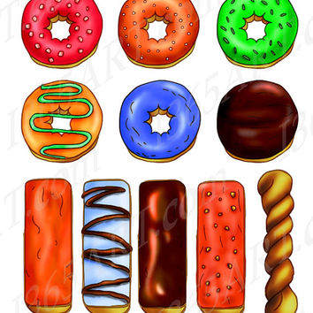 Assorted Donuts Clip art Set, Doughnut, Sprinkles, Jelly Donut, Frosted Donuts, Long Donuts, Donut Twist PNG & JPEG Digital Download