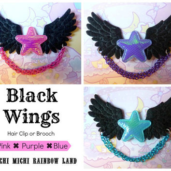 Black Wings Iridescent Star Hair Clip / Brooch