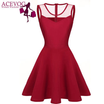 ACEVOG Women elegant dresses Summer vestidos 2016 Sexy Lady 4 colors Mesh High Waist Pleated Casual Knee Length Swing Dress