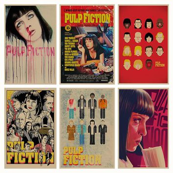 Pulp Fiction B gather retro Poster Retro Kraft Paper Bar Cafe Home Decor Painting Wall Sticker