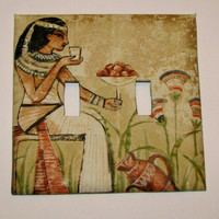 Double Light Switch Cover - Light Switch Plate Egyptian Upcycled Wallpaper
