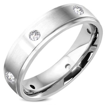 ON SALE - Eternal Satin Finished Men's Stainless Steel CZ Inset Band Ring