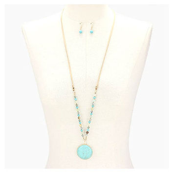 Turquoise Howlite Stone Pendant Bead Suede Leather Long Necklace
