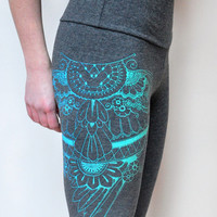Organic bamboo charcoal grey high waisted leggings with unique turquoise ombre henna style wing print