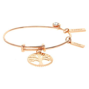 "Dear Deer Rose Gold Plated ""Tree of Life""&""Family Happy""&""Love Fine"" Adjustable Wire Bangle Bracelet"