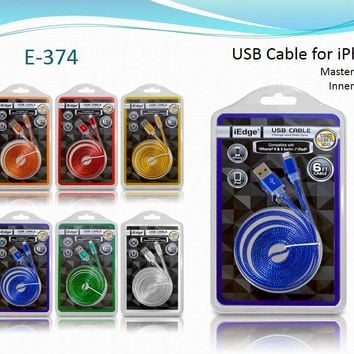 6 ft. ip6 flat jelly usb cable with metal tips Case of 12