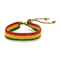 81stgeneration Men's Women's Cotton Rasta Style Jamaican Bob Marley Adjustable Wristband Bracelet