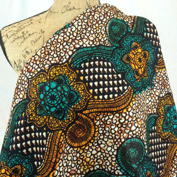 Kenyan Fabric--African Wax Print Fabric--Ankara Fabric--Teal, Rust and Brown Floral and Swirl Print Fabric--African Fabric by the HALF YARD