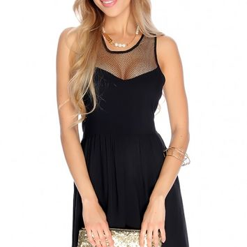 Sexy Black Sleeveless Netted Cut Out Casual Party Dress