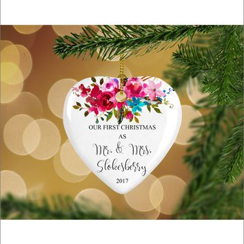 Personalized Floral Our First Christmas as Mr. & Mrs. Christmas Ornament- Wedding Ornament - Christmas Gift Ideas - HO0004