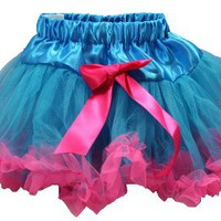 Two Tone Petti Skirt Tutu Turquoise & Bubblegum Pink Trim
