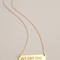The Betty Collection: Get Shit Done Necklace in Gold/Brass