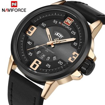 NAVIFORCE NF9086B Sports Waterproof Leather Quartz Watch