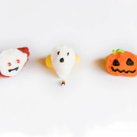 Halloween hair ties, set of three hair bobbles, vampire, pumpkin, ghost