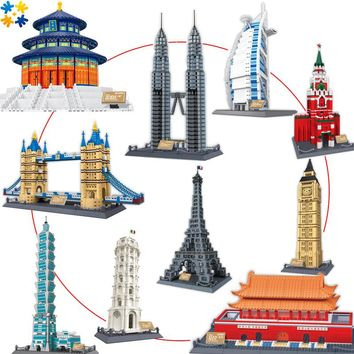 8011-8020 World's Great Architectures 11 models Tower of Pisa Big Ben Building Block Set Educational DIY Bricks Toys Gift