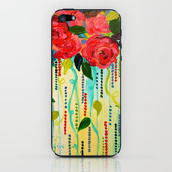 ROSE RAGE Stunning Summer Floral Abstract Flower Bouquet Feminine Pink Turquoise Lime Nature Art iPhone & iPod Skin by EbiEmporium