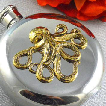 Golden Octopus Flask, Silver Flask, Nautical Steampunk Flask, Vintage Inspired Gothic, Steel Flask, 5Oz Flask