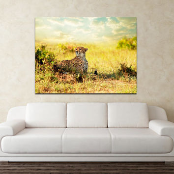"Canvas Print Artwork Stretched Gallery Wrapped Wall Art Painting Lion Tiger Pantera Africa Safari Leopard Large Size 26x34"" (can20)"