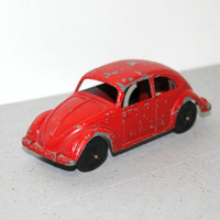 VIntage Tootsietoy VW Beetle Bug Car Tootsie Toy Red 1960s