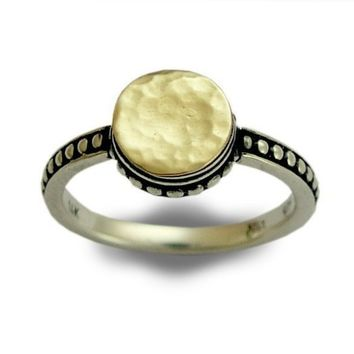 Engagement ring sterling silver combined gold thin by artisanlook