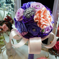 Custom Ribbon Rose Bridal Wedding Bouquet Crystal Brooch Wedding Bouquet