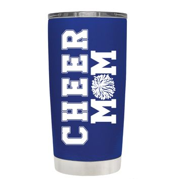Pom Pom Cheer Mom on Blue 20 oz Tumbler Cup