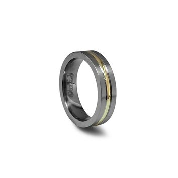 Titanium Band Ring with 14K Gold Inlay